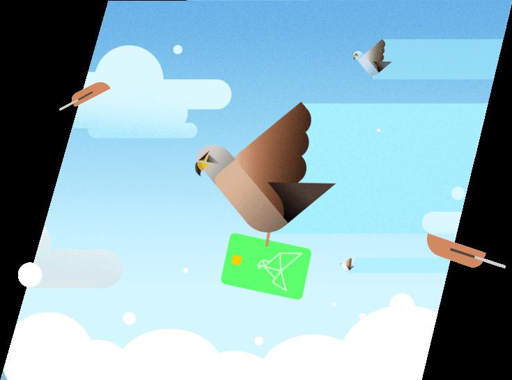 Kestrel in the sky illustration